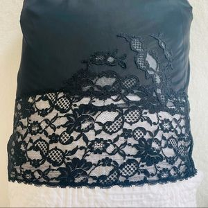 Vintage 50s 60s Lace Nylon Black Half Slip Frilly Vanity Fair S